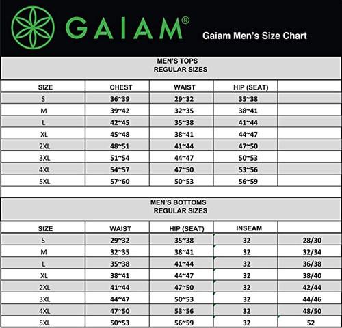 Gaiam Men's Yoga Shorts size chart