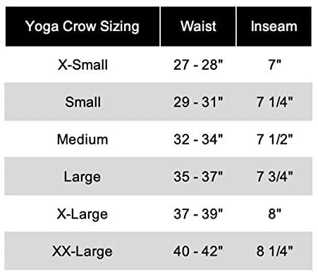 YOGA CROW Mens Pocketless Swerve Shorts size chart
