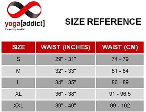 YogaAddict Men Yoga Shorts size chart