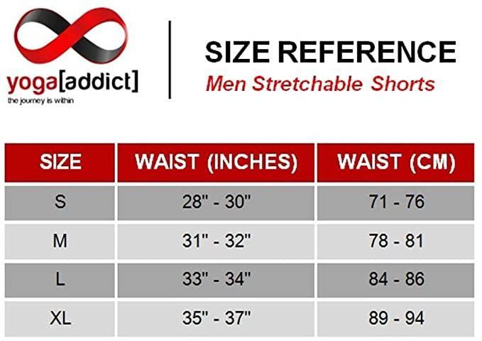 YogaAddict Men Yoga Stretchable Short Pant sizing reference