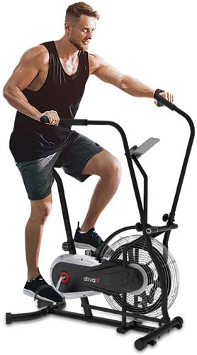 Ativafit Fan Bike Exercise Upright AirBike Indoor Cycling Fitness Bike Stationary Bicycle with Air Resistance System