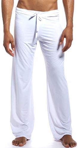 K-Men Mens Ice Silk Long Yoga Pant Low Rise Elastic Drawstring Sleep Bottom